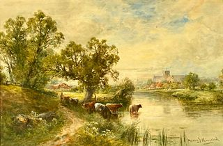 "Henry John Kinnaird Watercolor, ""View of Winchester"""