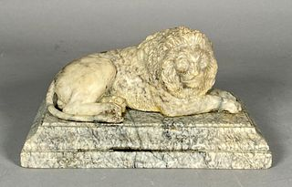 Grand Tour Carved Marble Figure of Recumbent Lion