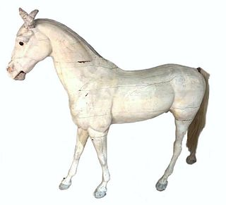 Life Size Wood Tack Shop Horse Figure, Early 20thc.