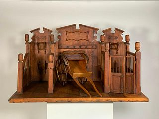 Hand Crafted Pine Stable Model, English Victorian