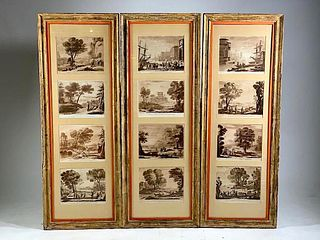 Three Framed Groupings of prints after Claude Lorrain