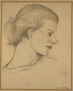 20thc. School, Signed Portrait of a Young Woman