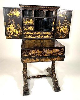 Chinese Export Lacquer Writing Cabinet on Stand, 19thc.