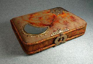 Victorian Photo Album Memory box with beveled mirror and original hardware