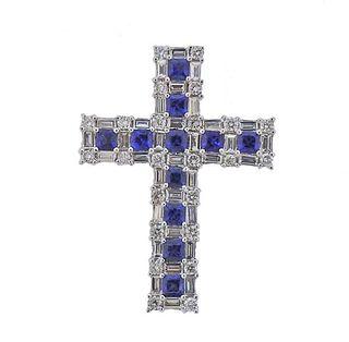 18K Gold Diamond Sapphire Cross Pendant
