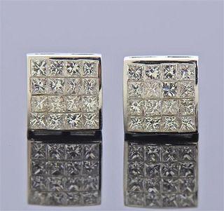 18k Gold Diamond Square Stud Earrings