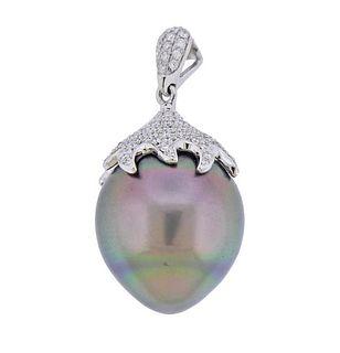 18K Gold Diamond Tahitian South Sea Pearl Pendant