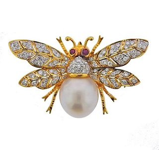 18K Gold Diamond Pearl Ruby  Insect Brooch Pin