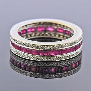 18K Gold Diamond Ruby Band Ring