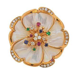 18K Gold Diamond MOP Ruby Sapphire Emerald Brooch Pendant