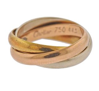 Cartier Trinity 18K Tri Color Gold Band Ring