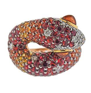 18k Gold Multi Color Sapphire Diamond Snake Ring