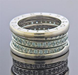 Bvlgari Bulgari B.Zero1 18K Gold Blue Topaz Band Ring