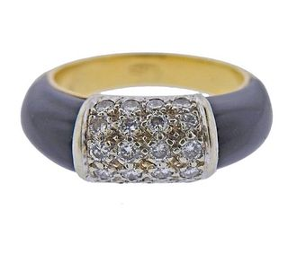 1970s 18K Gold Diamond Onyx Ring