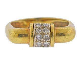 1970s 18K Gold Diamond Ring