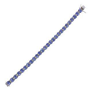 18K Gold 17.20ctw Sapphire Diamond Bracelet