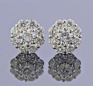 18K Gold Diamond Floral Stud Earrings