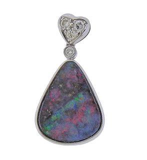 18K Gold Diamond Black Opal Pendant