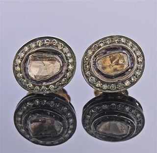 18K Gold Rose Cut Diamond Stud Earrings
