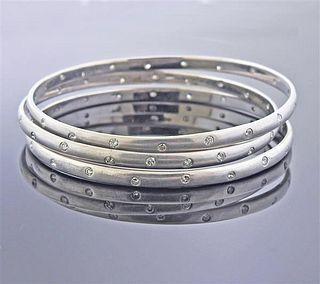 9k Gold Diamond Bangle Bracelet Set