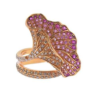 18K Gold Diamond Pink Sapphire Floral Cocktail Ring