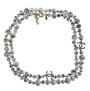 Chanel CC Paint Splatter Costume Pearl Long  Necklace