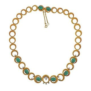 1960s 18K Gold Diamond Malachite Necklace