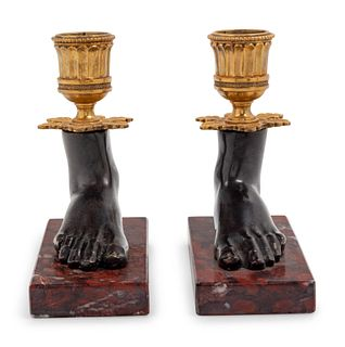 A Pair of Empire Style Gilt Bronze Mounted Figural Candelabra