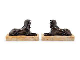 A Pair of Empire Style Cast Bronze Sphinx-Form Bookends