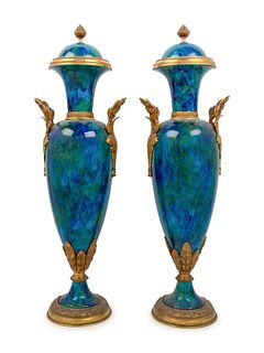 A Pair of Sevres Style Gilt Bronze Mounted Flambe Glazed Urns