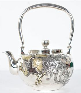 Japanese Sterling Silver Teapot, 20.5 ozt