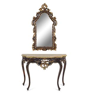 A Louis XV Style Painted and Part-Silvered Console Table and Mirror