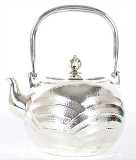 Japanese Sterling Silver Teapot, 25.5 ozt