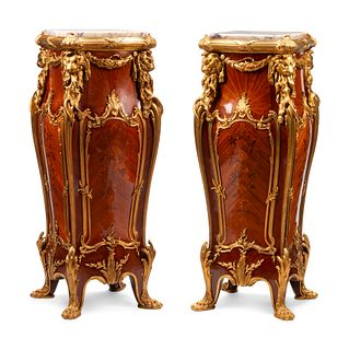 A Pair of Louis XV Style Gilt Bronze Mounted Marquetry Pedestals After the Model by Joseph-Emmanuel Zwiener