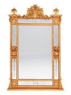 A Pair of Louis XVI Style Gilded Mirrors