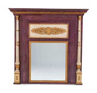 A Directoire Faux Porphyry Painted and Parcel Gilt Mirror