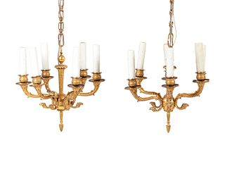 A Pair of Empire Gilt Bronze Six-Light Chandeliers