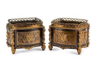 A Pair of Napoleon III Gilt Bronze Mounted Boulle Marquetry Cache Pots