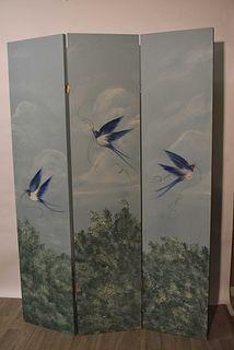 Three Panel Folk Art Room Divider/Screen