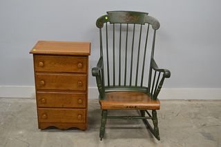 Stenciled Rocking Chair and Oak Chest