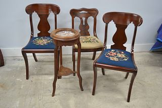 Fern Stand and Antique Style Side Chairs