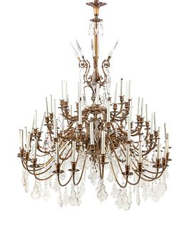 A French Gilt Bronze and Baccarat Glass Sixty-Light Chandelier