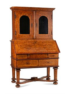 A German or Austrian Burl Walnut and Marquetry Slant-Front Bureau Bookcase