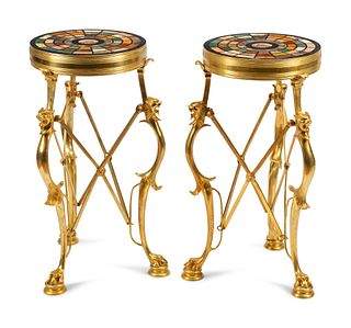 A Pair of Continental Gilt Bronze Tables with Specimen Marble and Mosaic Tops