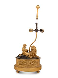 A Continental Gilt Bronze Figural Group Mounted as a Lamp