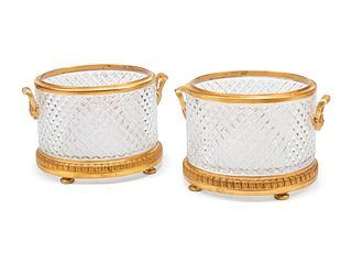 A Pair of Continental Gilt Bronze Mounted Cut Glass Jardinieres