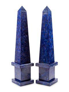 A Pair of Monumental Lapis Lazuli Veneered Obelisks