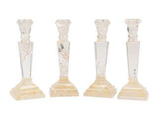A Set of Four Rock Crystal Candlesticks