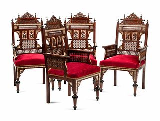 A Set of Four Moorish Style Bone and Mother-of-Pearl Inlaid Armchairs