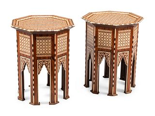 A Pair of Anglo-Colonial Style Inlaid Side Tables